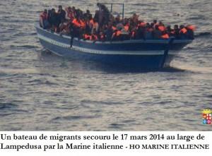 Un bateau de migrants secouru le 17 mars 2014 au large de Lampedusa par la Marine italienne HO MARINE ITALIENNE