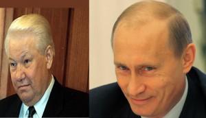 Boris Eltsine et Vladimir Poutine. Montage photo.