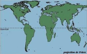 Carte du monde, projection de Peters - Centralité de l'Afrique