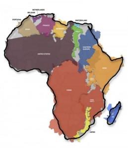 Taille réelle de l'Afrique Crédit: http://static.hitek.fr