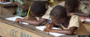 Children in open-air classroom in Ewe village bush school, Kpalime Valley, Togo, Africa