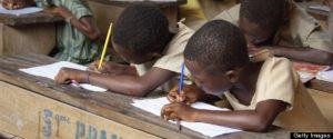 Children in open-air classroom in Ewe village bush school, Kpalime Valley, Togo, Africa